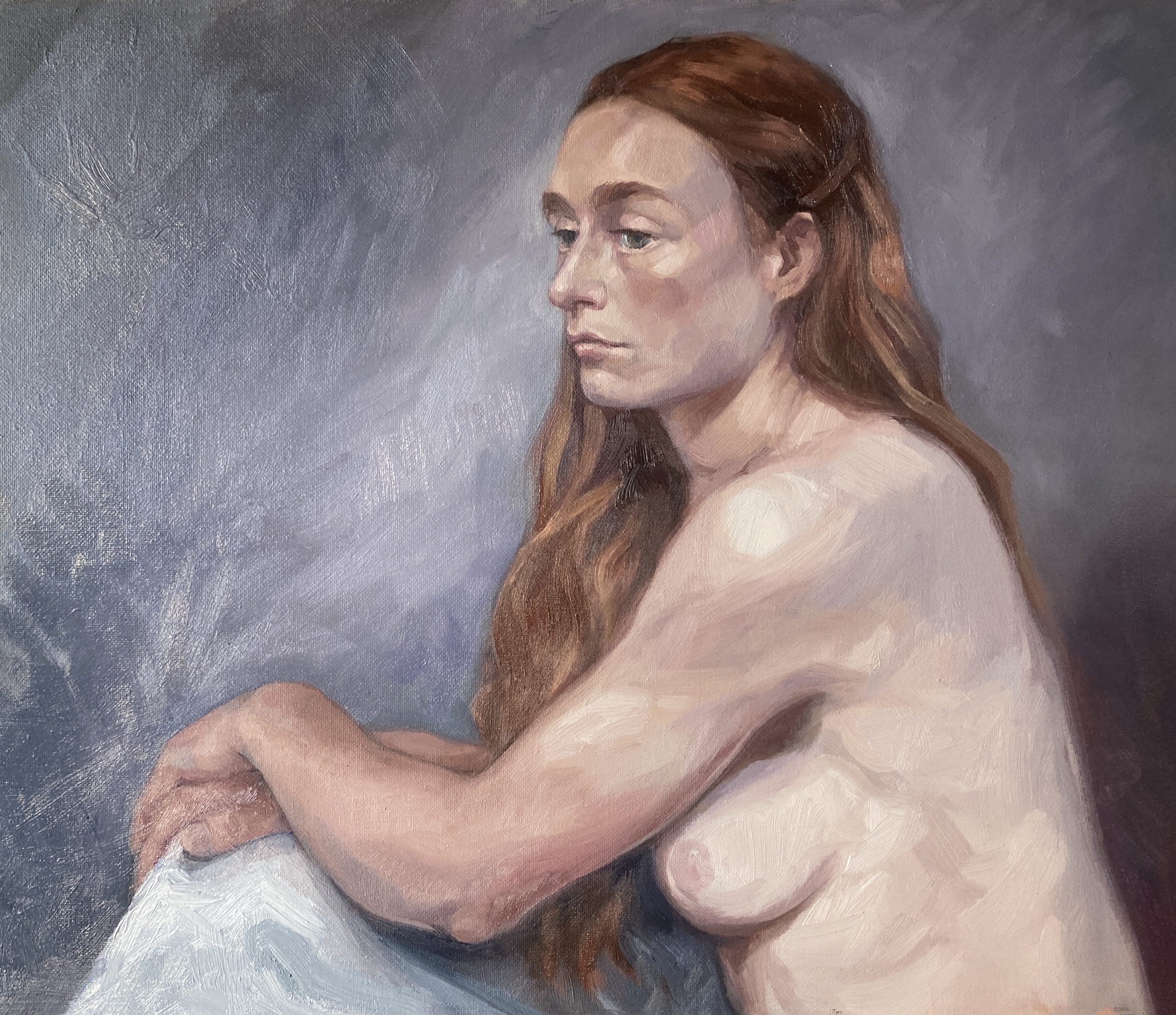 Life painting oil female