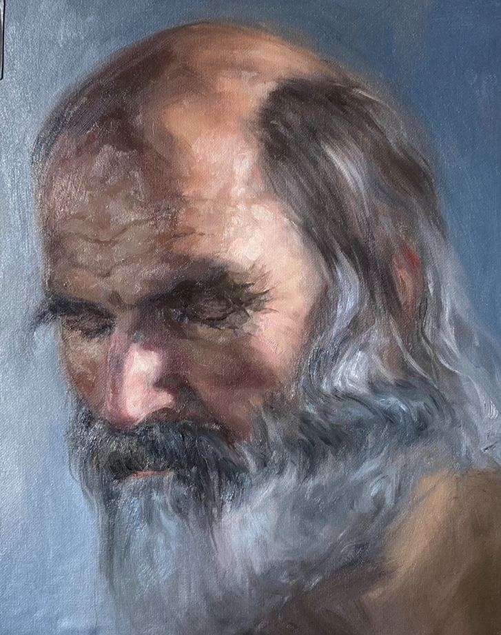 Portrait of an old man oil painting